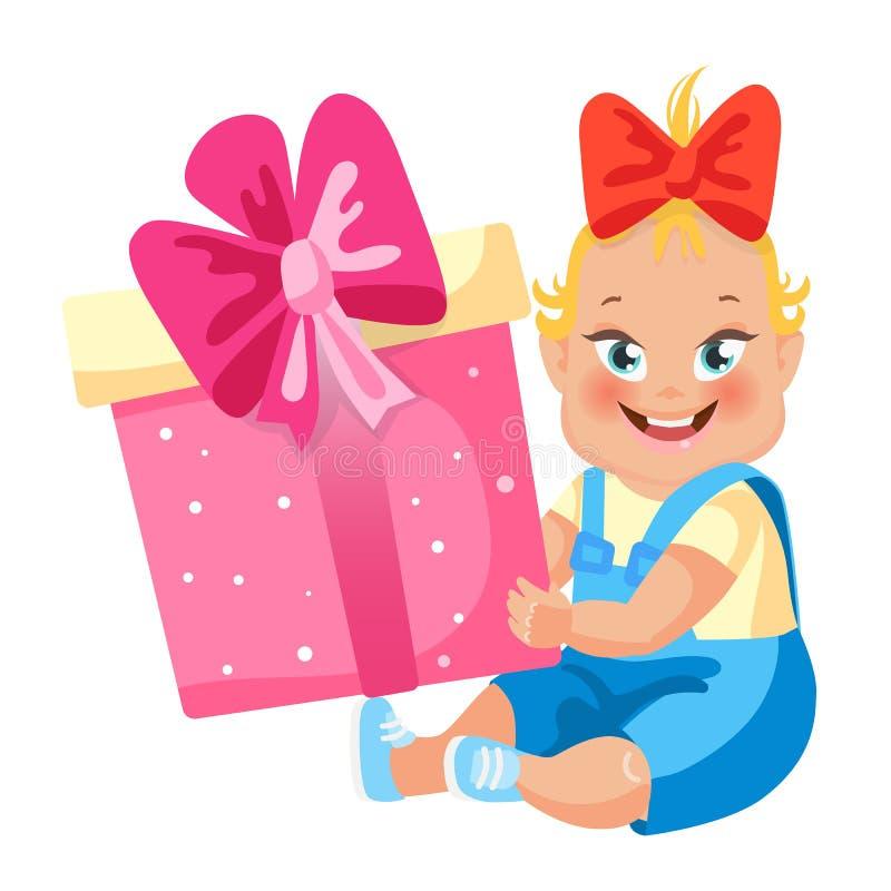 Ch?ri girl L'enfant mignon s'assied avec le grand cadeau Illustration de vecteur de style de bande dessin?e illustration libre de droits
