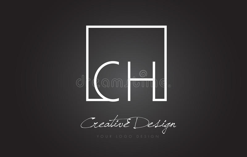CH Square Frame Letter Logo Design with Black and White Colors. vector illustration