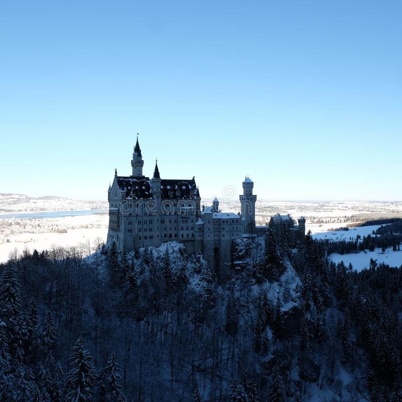 Ch?teau de Milou Neuschwanstein pendant l'hiver photo stock