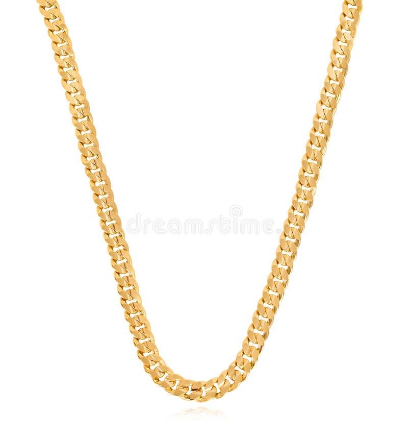 Chaîne à maillons lourde de restriction d'or pour le collier de chaîne de menGold dans la conception unique photographie stock