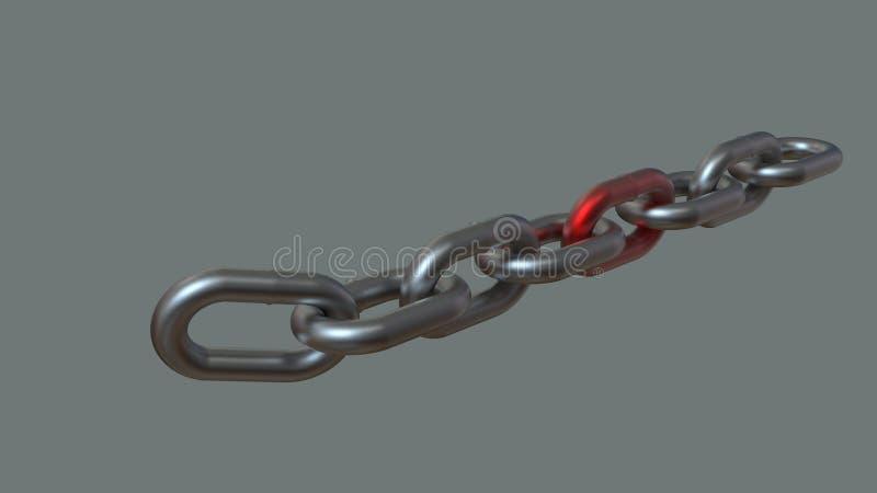 Chaîne argentée en métal avec le rendu rouge du lien 3D illustration libre de droits