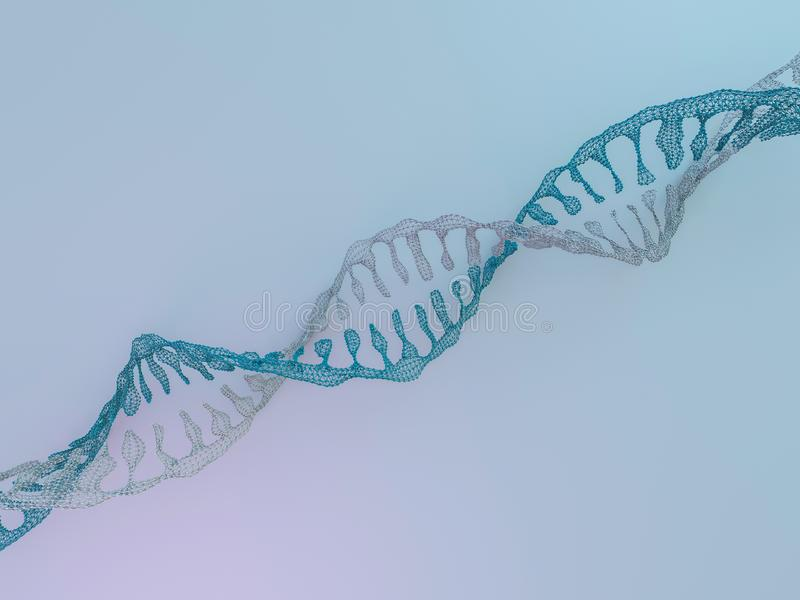 Chaîne d'ADN Fond scientifique abstrait rendu 3d illustration de vecteur