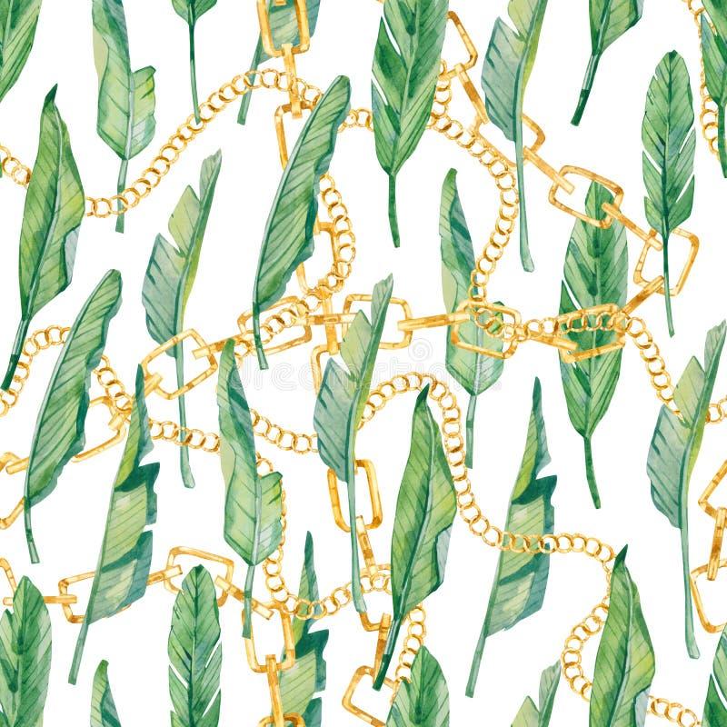 Chaîne d'or de modèle sans couture d'aquarelle et feuilles tropicales, copie exotique colorée d'été illustration de vecteur