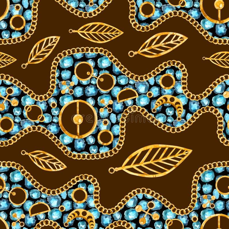 Chaîne d'or, pierre gemme et plume de modèle sans couture d'aquarelle sur le backgroud de couleur illustration libre de droits