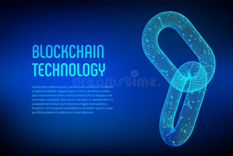 Chaîne de bloc Crypto devise Concept de Blockchain chaîne du wireframe 3D avec le code numérique Signe de wireframe de lien Techn illustration de vecteur