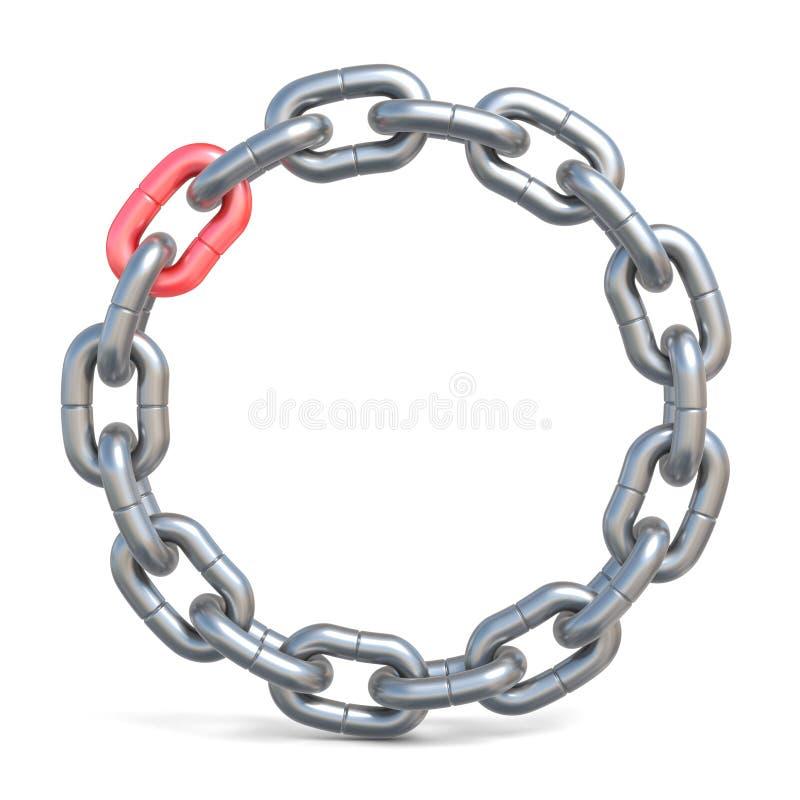 Chaîne de cercle avec un lien rouge 3D illustration libre de droits
