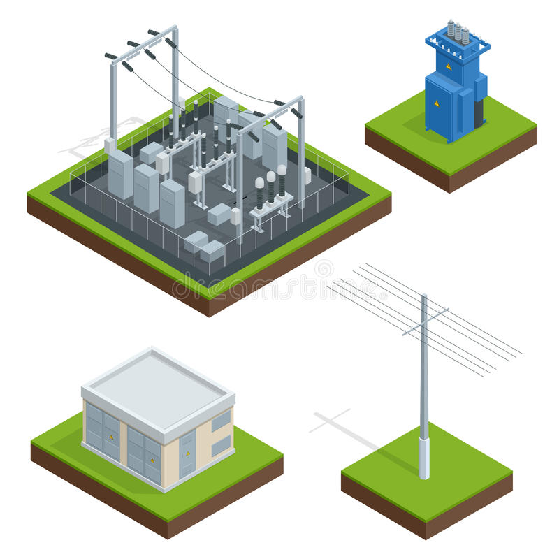 Chaîne de distribution d'usine d'énergie électrique Communication, ville de technologie, électrique, énergie Vecteur isométrique illustration libre de droits