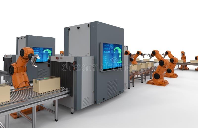 Chaîne de montage de robot illustration stock