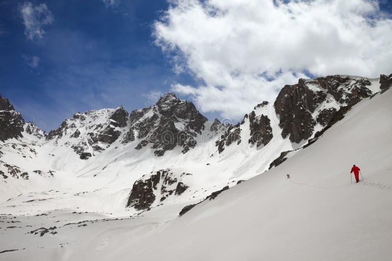 Chaîne de montagne avec les traces d'avalanche, le ciel nuageux ensoleillé et le randonneur avec le chien photographie stock
