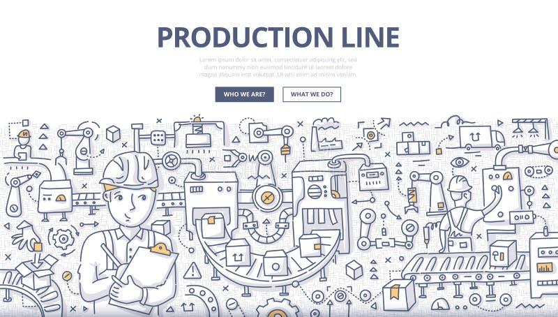 Chaîne de production concept de griffonnage illustration libre de droits