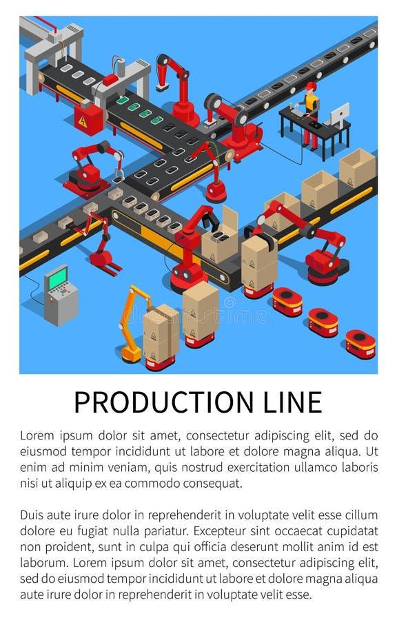 Chaîne de production convoyeur pour la création de Smartphones illustration de vecteur