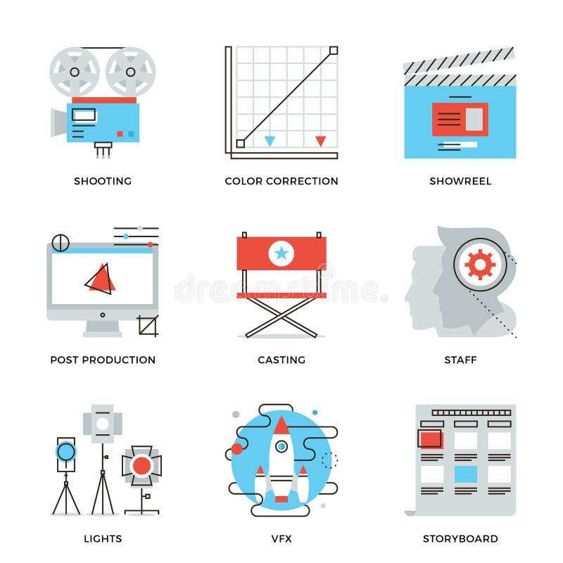 Chaîne de production de film et de vidéo icônes réglées illustration stock