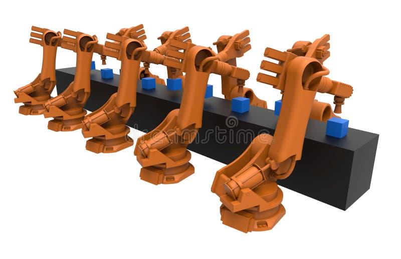 Chaîne de production de robots industriels illustration stock