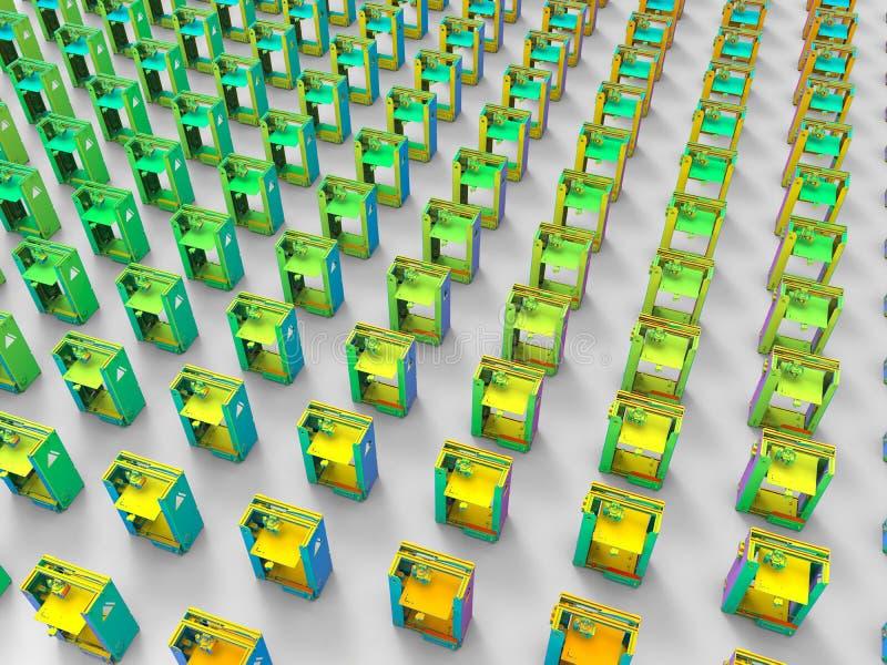 chaîne de production des imprimantes 3D concept illustration libre de droits