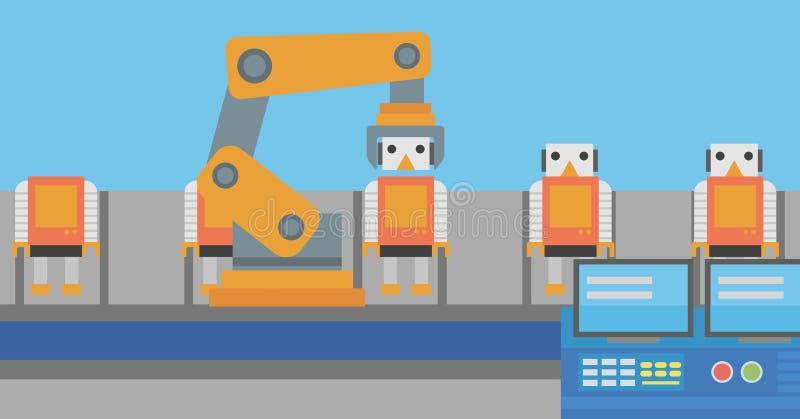 Chaîne de production robotique pour l'ensemble des jouets illustration libre de droits