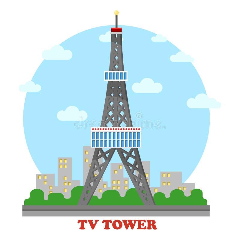 Chaîne de télévision et mât et tour de radio pour la télévision illustration libre de droits