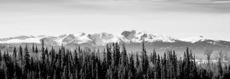 Chaîne de Telkwa AVANT JÉSUS CHRIST au Canada du nord - panorama de B&W photos stock