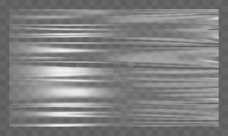 Chaîne en plastique blanche étirée réaliste Fond de polyéthylène Maquette transparente de cellophane de vecteur illustration libre de droits