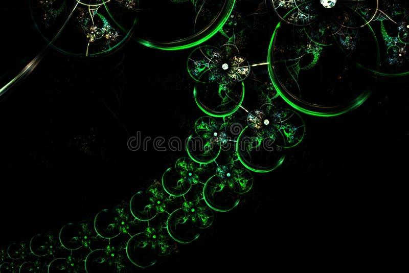 Chaîne sphérique verte rougeoyante d'amusement de fractale abstraite illustration libre de droits