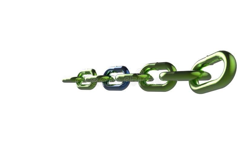 Chaîne verte en métal avec le rendu bleu du lien 3D illustration libre de droits