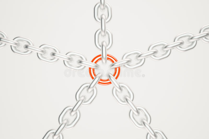 Chaînes argentées avec le lien rouge illustration libre de droits
