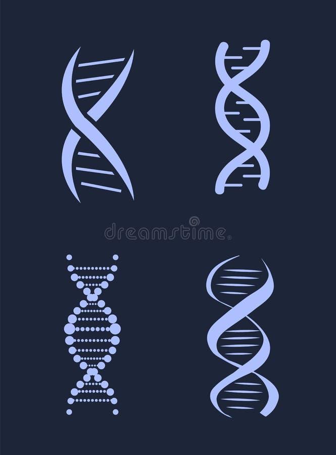 Chaînes d'acide désoxyribonucléique d'ADN réglées, nucléotide illustration libre de droits