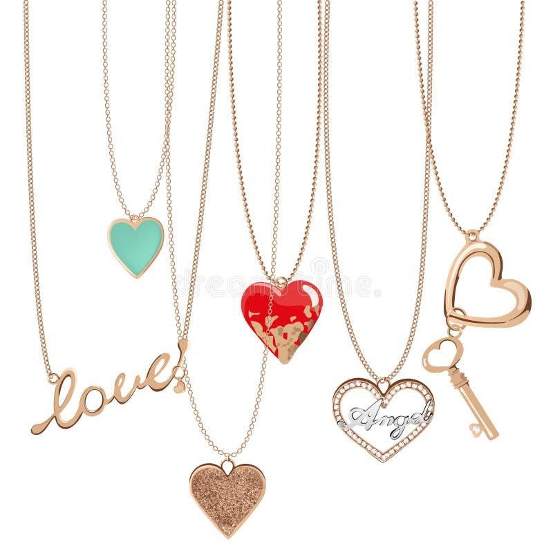 Chaînes de coeur de bijoux illustration libre de droits