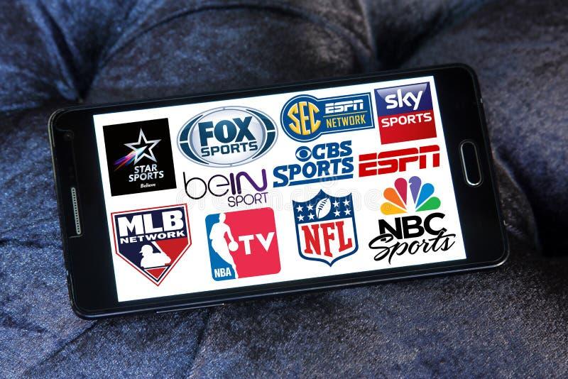 Chaînes de télévision de sports et icônes de réseaux photos stock