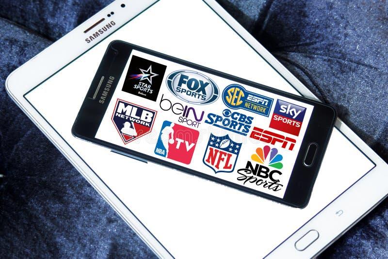 Chaînes de télévision de sports et icônes de réseaux photo stock