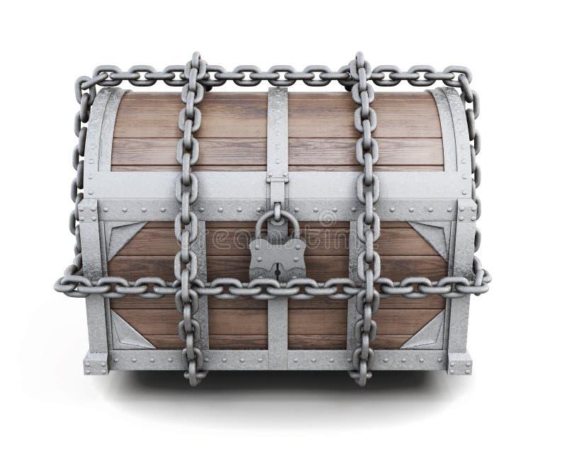 Chaînes empêtrées par coffre en bois rendu 3d illustration libre de droits