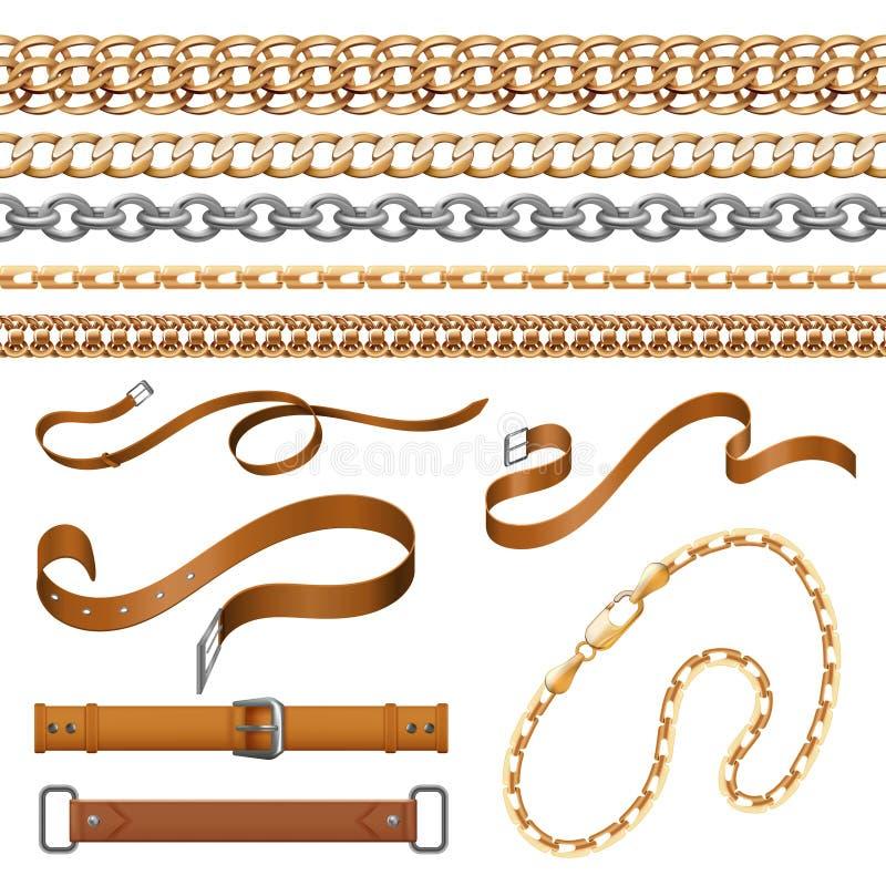 Chaînes et tresses Les bracelets garnissent en cuir des ceintures et des éléments d'or de meubles, ensemble ornemental de bijoux  illustration libre de droits