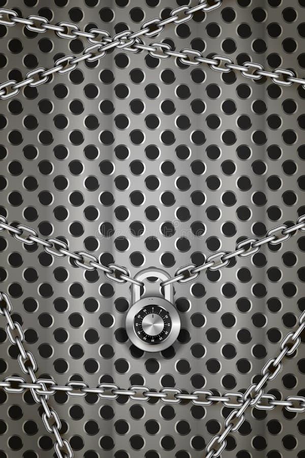 Chaînes métalliques brillantes en argent avec cadenas rond sur grille ronde en métal, arrière-plan industriel vertical illustration libre de droits