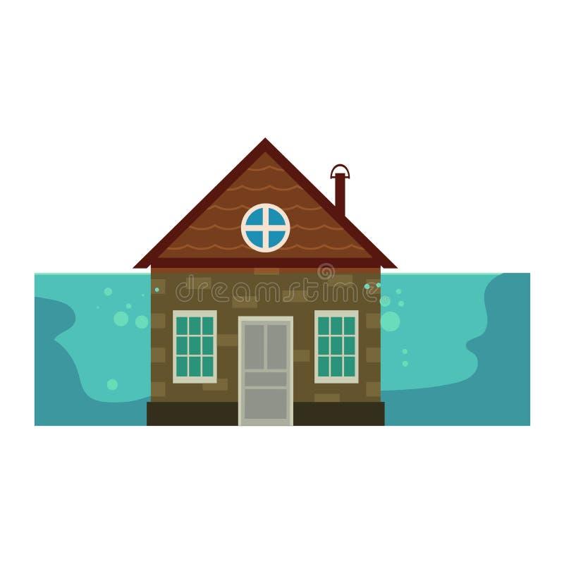 Chałupa dom pod wodą, ubezpieczenie od powodzi ikona ilustracja wektor