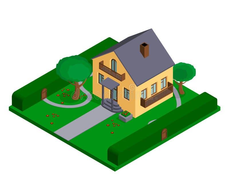 Chałupa lub mały intymny dom dla broszurek lub stron internetowych przedsięwzięcia nieruchomość ilustracja wektor