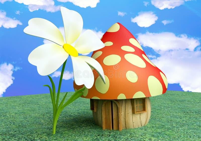 chałupy czarodziejska kwiatu pieczarka royalty ilustracja