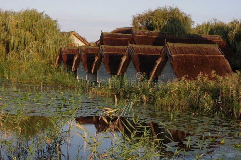 Chałupy w Danube delcie zdjęcie royalty free