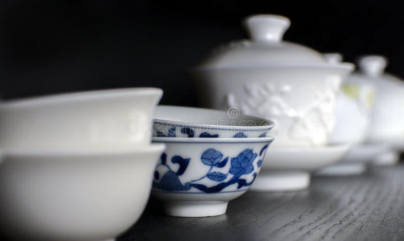 Cha Bei Porcelain Teacups - special tekopp till kinesiskt dricka för te arkivbilder