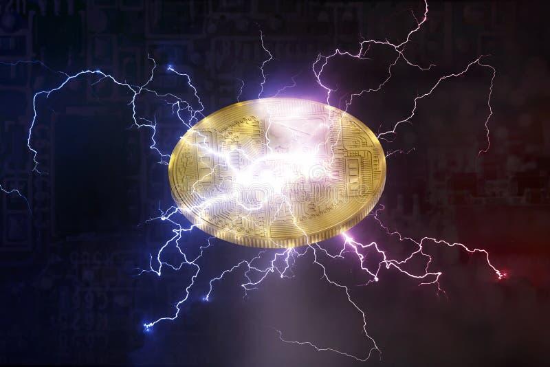Cha cripto digital da rede do relâmpago da moeda de Bitcoin ou de Altcoin fotografia de stock royalty free