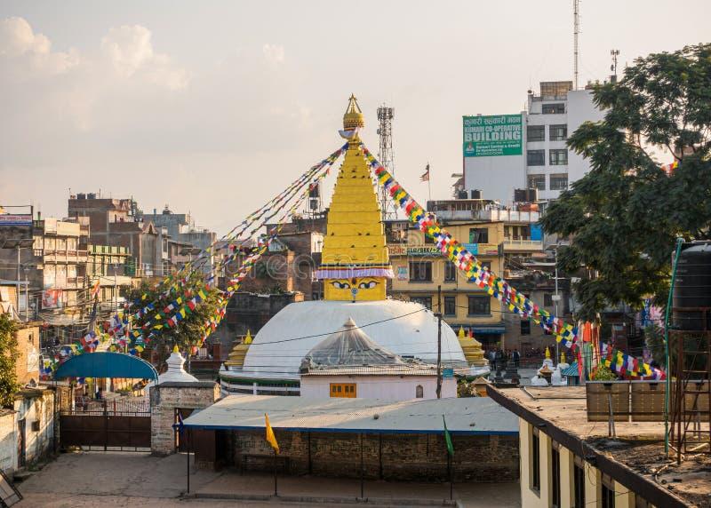Chabahil Stupa i Katmandu, Nepal arkivbild