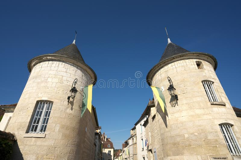 Golden Gate of Burgundy, village of Chablis in Bourgogne region, famous for white wine. Chablis,France-October 16, 2018: Golden Gate of Burgundy, village of stock image