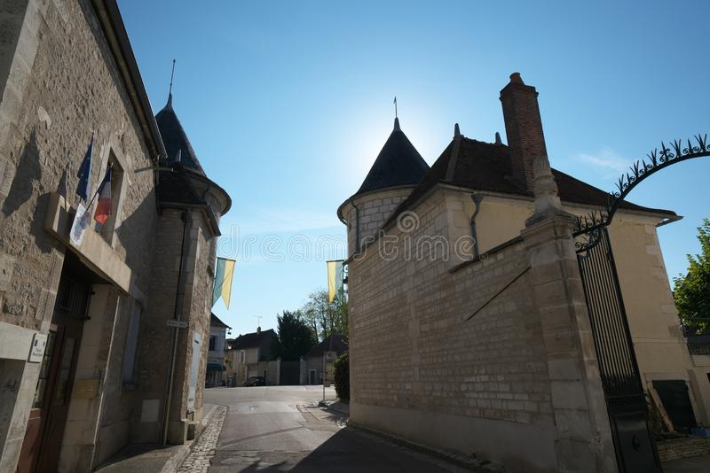 Golden Gate of Burgundy, village of Chablis in Bourgogne region, famous for white wine. Chablis,France-October 16, 2018: Golden Gate of Burgundy, village of stock photo