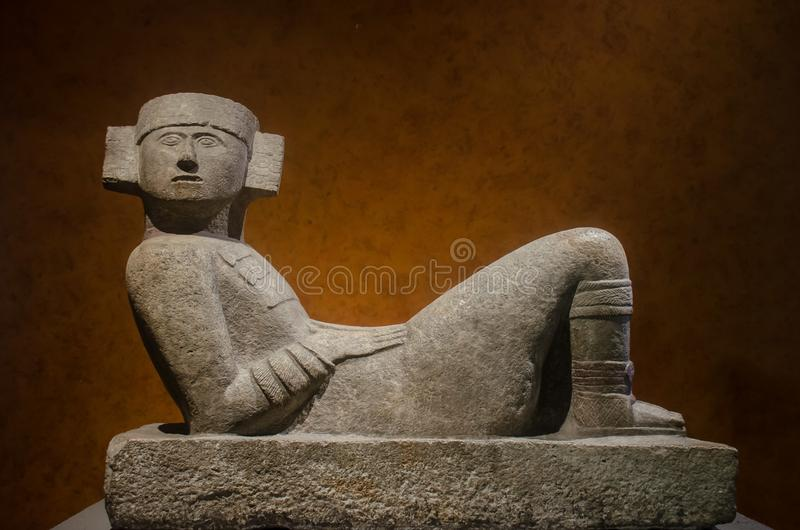 Ancient sculpture of a Chac Mool stock photos