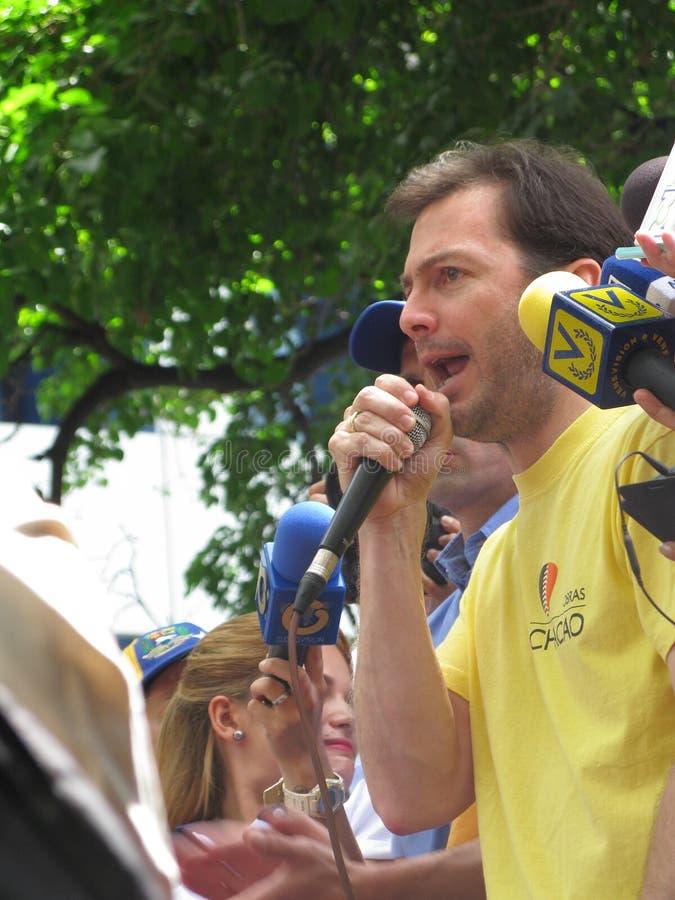 Chacao-Stadtbezirksbürgermeister und Oppositionsführer gegen Nicolas Maduro-Präsidenten in Caracas Ramon Muchacho stockfoto
