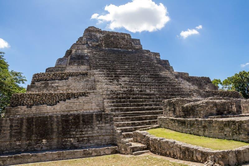 Chacchoben Mayan Ruins J. Mayan ruins at the Chacchoben site in Costa Maya, Mexico stock images