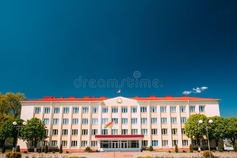 Chachersk, Belarus Bâtiment du comité de direction de secteur image stock