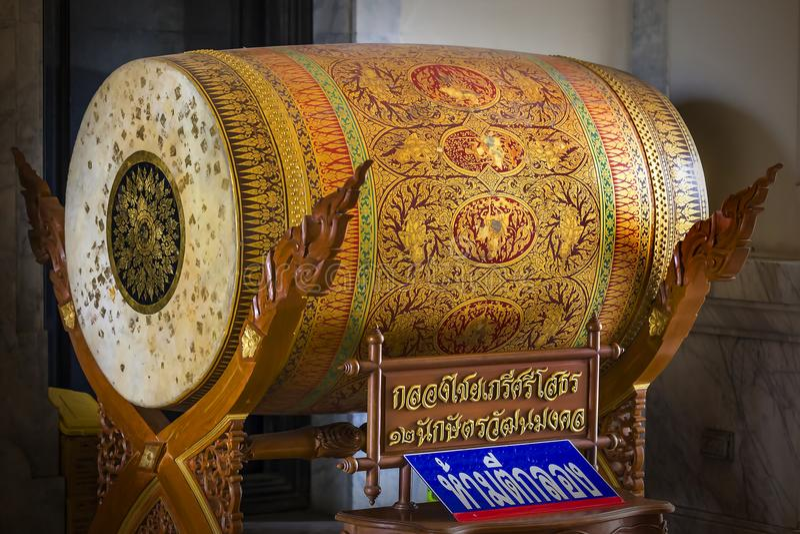 Chachoengsao,泰国- 2018年3月21日:在wat worawihan sothon的wararam的大鼓 Chachoengsao,泰国 免版税库存图片