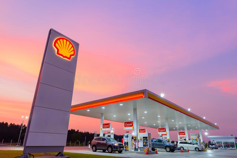 Chachoengsao, Thailand - Jan 28, 2018: Shell gas station. Chachoengsao, Thailand - Jan 28, 2018: Shell gas station blue sky background during sunset. Royal royalty free stock image