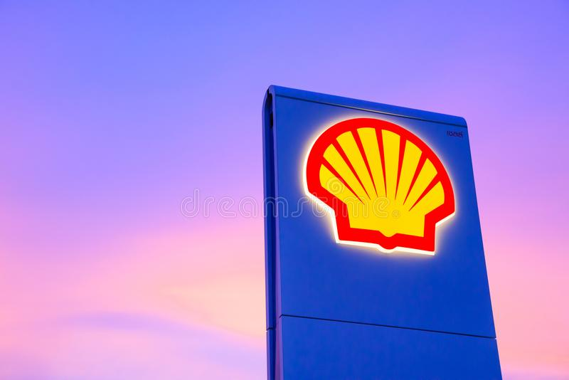 Chachoengsao, Thailand - Jan 28, 2018: Shell gas station. Logo with blue sky background during sunset. Royal Dutch Shell sold its Australian Shell retail stock images