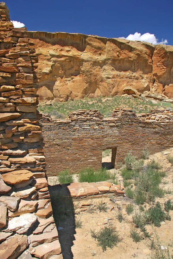 Chaco canyon. Archaeological ruins in Chaco canyon royalty free stock photos