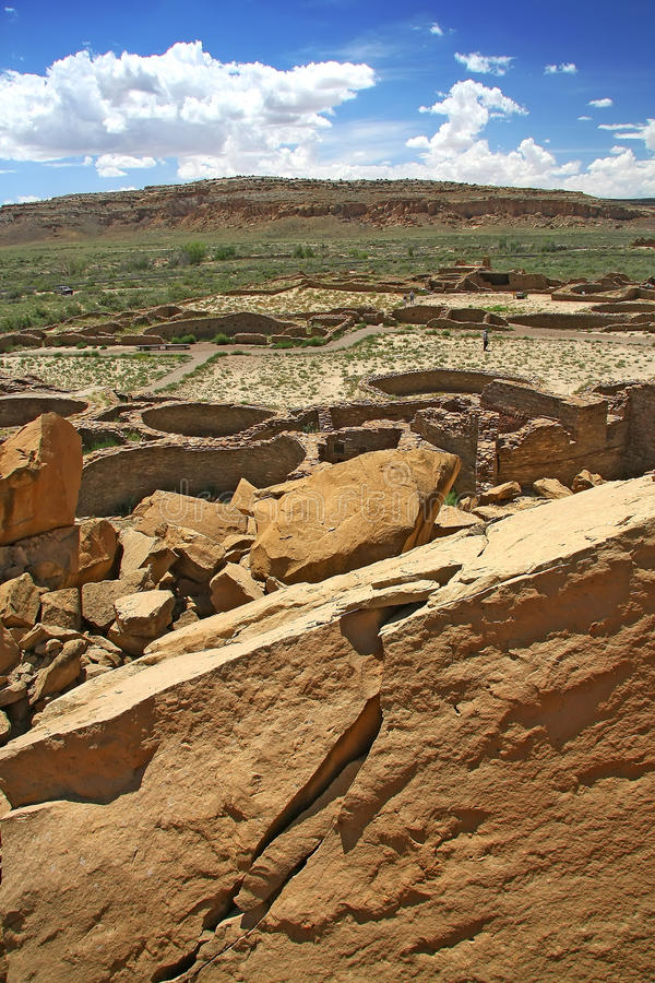 Chaco canyon. Archaeological ruins in Chaco canyon stock images